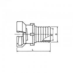 Demi-raccord symétrique avec verrou à douille annelée