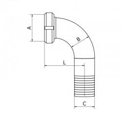 Coude à ligaturer MACON avec joint torique 316 L