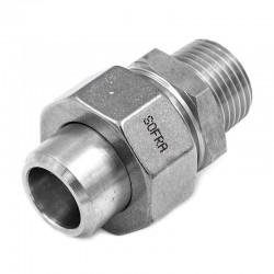 Raccord Union Lisse - Mâle avec joint - Ecrou octogonal - Filetage gaz - 316L - Série J06