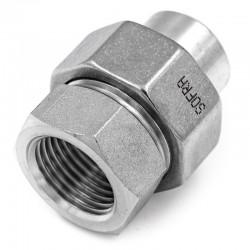 Raccord Union Lisse - Femelle avec joint - Ecrou octogonal - Filetage gaz - 316L - Série J06