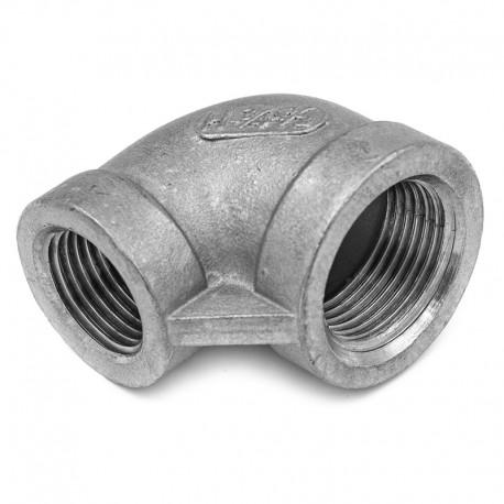 Coude 90° moulé Femelle-Femelle réduit - Filetage gaz - 316