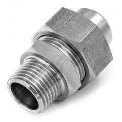 Raccord Union Lisse - Mâle avec joint - écrou hexagonal - Filetage gaz - 316L - Série J