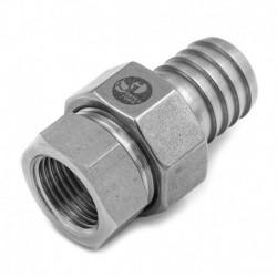 Raccord Union Femelle-Cannelé avec joint - Ecrou octogonal - Filetage gaz - 316L - Série JC06