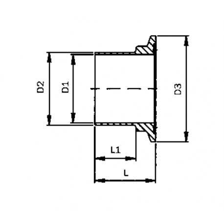 Ferrule CLAMP femelle ISO DIN 11864-3 Forme A