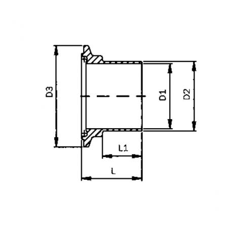 Ferrule CLAMP mâle ISO DIN 11864-3 Forme A