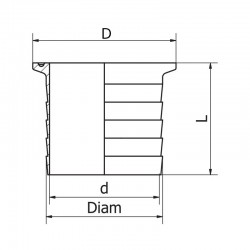 Ferrule micro clamp cannelée ISO 316L